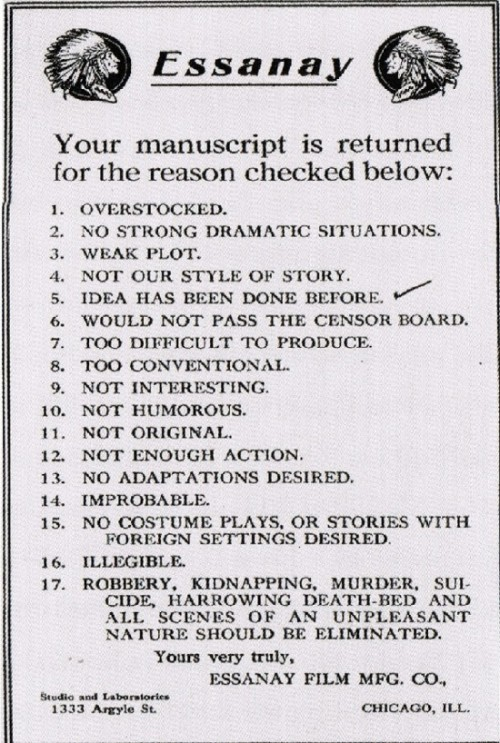 Hollywood manuscript rejection letter